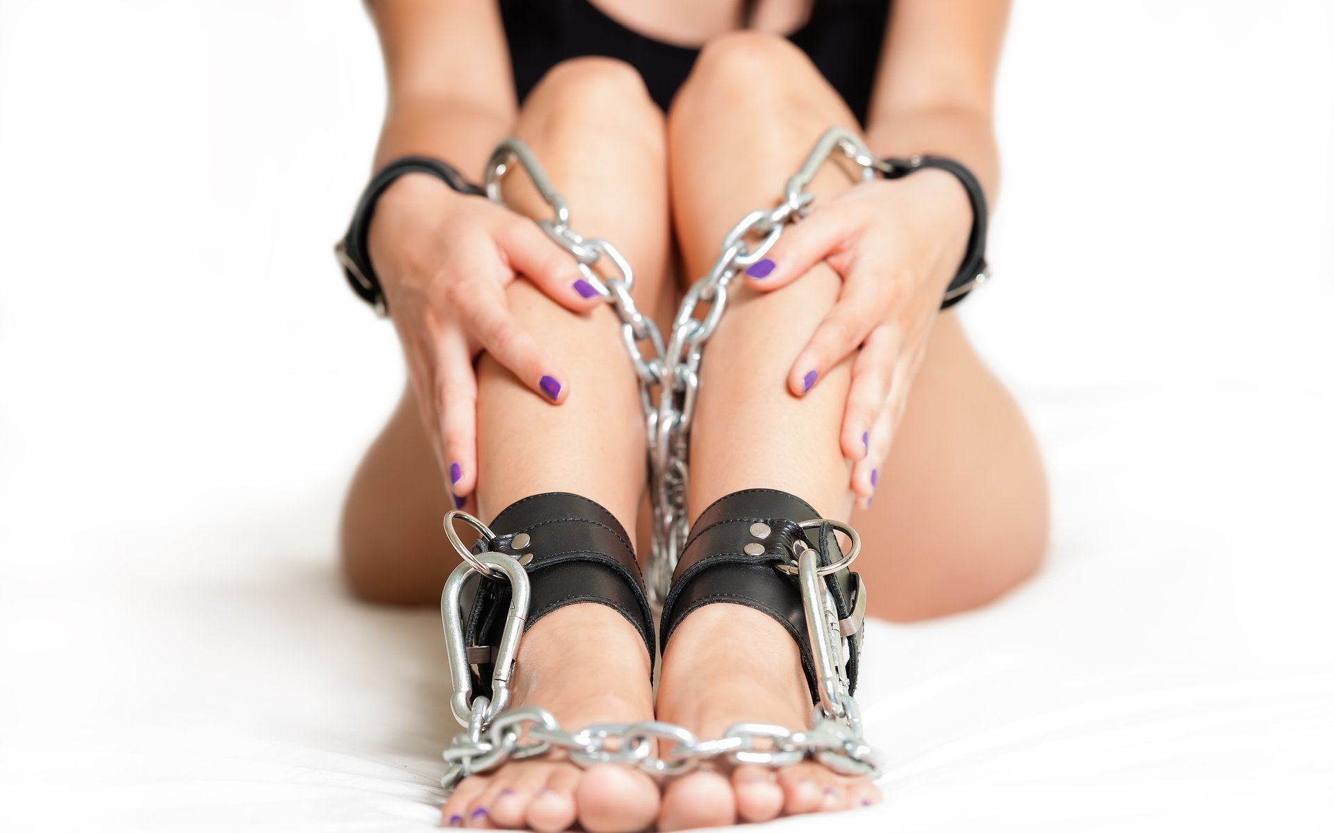 Heels and chains - young, woman, temptation, style, bondage, slave.